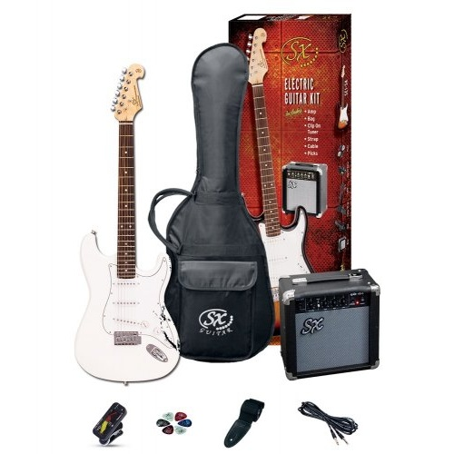 SX SE1SKB Electric Guitar and Amp Package White